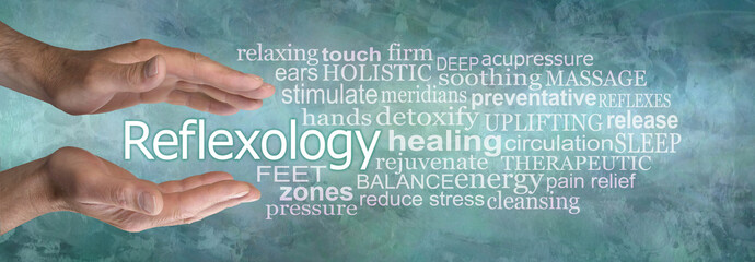 Rustic Masculine Reflexology Word Cloud Banner - pair of male hands cupped around the word reflexology surrounded by a word cloud on a jade green grunge background