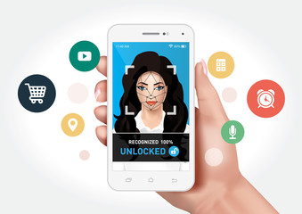 Vector graphics showing a hand holding a smartphone with face recognition system to unlock the application. Identification of a woman's face