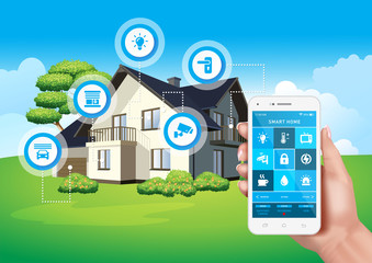 Vector design depicting a modern smart home controlled by a mobile application on a smartphone