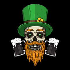 Irish skull. The skull of Saint Patrick's with green hat, glass beer and clover leaves.