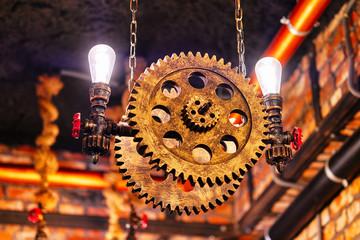 Steampunk lighting equipment indoors