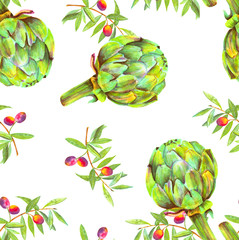 A seamless watercolor pattern of vibrant olive tree branches with olives and artichokes, a Mediterranean cuisine repeat print on a white background