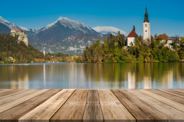 Lake Bled in Slovenia, wood boards product display, montage and presentation