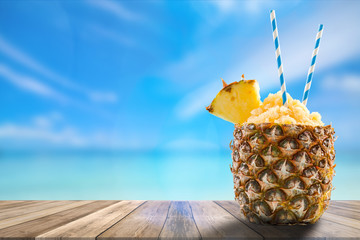 exotic drink, boards product display, montage and presentation