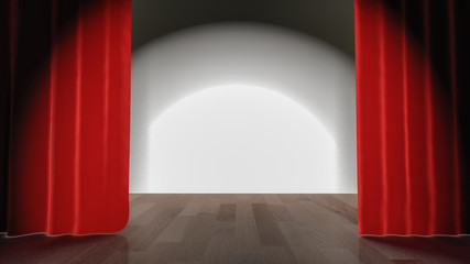 a stage with a red curtain (3d rendering)