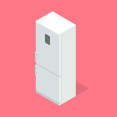 White three-dimensional fridge. Isometric vector illustration. Isolated icon of kitchen appliances.