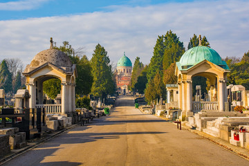Zagreb, Croatia - December 30th 2018. The historic Mirogoj Cemetery in the Croatian capital Zagreb