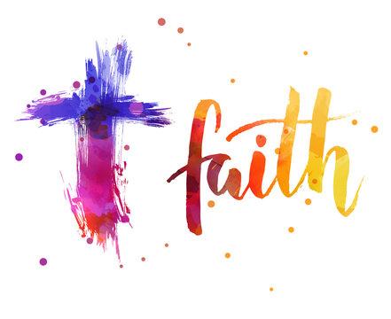 Faith - handwritten watercolor text.