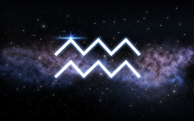 astrology and horoscope - aquarius zodiac sign over dark night sky with stars and galaxy background