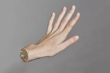Close up of artificial human's hand