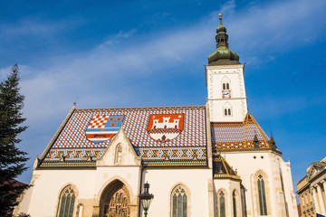 Saint Marks, the old parish church of Zagreb, Croatia. It dates from the 13th century and is located in Saint Marks Square, Trg svetog Marka