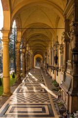 An arcade in the historic Mirogoj Cemetery in the Croatian capital Zagreb