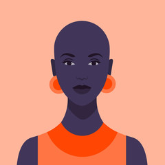 Beautiful African girl. Diversity. Portrait of a young woman without hair. Avatar. Vector flat illustration.