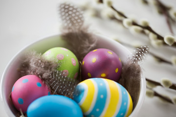 holidays and object concept - colored easter eggs with quail feathers in bowl and pussy willow branches on white background