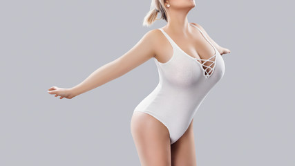 Plus size sexy model in swimsuit, fat woman on white studio background, overweight female body