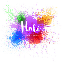 Happy Holi vector decoration element for your festive design. Happy Holi template. Isolated on white background. Vector EPS 10.