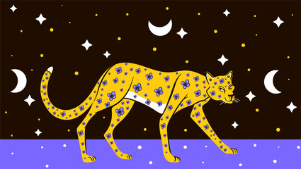 illustration of a leopard among the starry sky in flowers and the moon