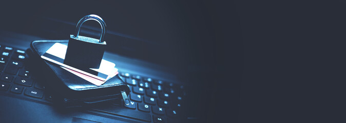 Credit card security. Online Shopping security - fototapety na wymiar