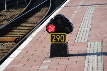 Red light sign 290 on the railroad platform at Rotterdam Central station in the Netherlands