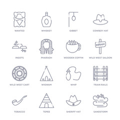 set of 16 thin linear icons such as sandstorm, sheriff hat, tepee, tobacco, train rails, whip, wigwam from desert collection on white background, outline sign icons or symbols
