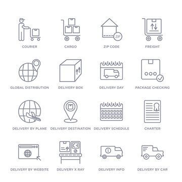 set of 16 thin linear icons such as delivery by car, delivery info, delivery x ray, by website, charter, schedule, destination from and logistic collection on white background, outline sign icons or