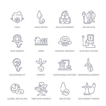 set of 16 thin linear icons such as eco energy power, recycling, tree with hearts, global recycling, renewable energy, sustainable factory, energy from ecology collection on white background,