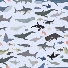 Seamless vector pattern with sea animals on light blue background.