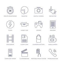 set of 16 thin linear icons such as phone receiver, portable music player, clapperboard, computer tower, video camera, charging battery, floppy disk from electronic stuff fill collection on white