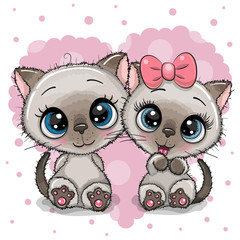 Two cute Kittens on a heart background