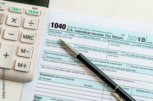 New 2019 Irs 1040 Tax Form Instructions Pen And Calculator Stock
