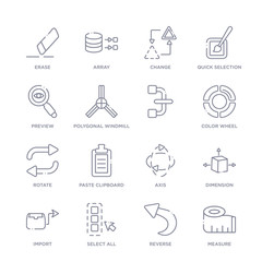 set of 16 thin linear icons such as measure, reverse, select all, import, dimension, axis, paste clipboard from geometry collection on white background, outline sign icons or symbols