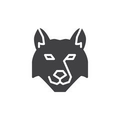 Wolf head vector icon. filled flat sign for mobile concept and web design. wolf animal glyph icon. Wild animals symbol, logo illustration. Pixel perfect vector graphics