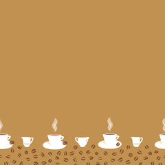 Beige border with coffee cup.