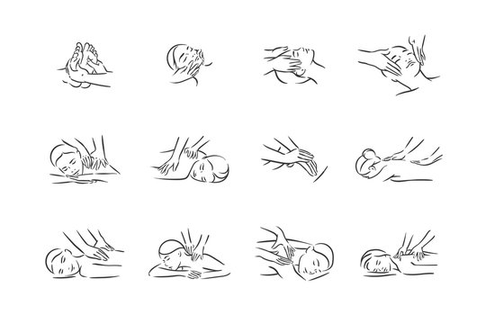 Vector illustration concept of Massage body relax symbol icon on white background