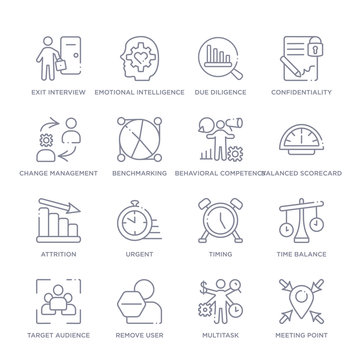 set of 16 thin linear icons such as meeting point, multitask, remove user, target audience, time balance, timing, urgent from human resources collection on white background, outline sign icons or