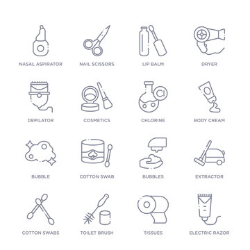 set of 16 thin linear icons such as electric razor, tissues, toilet brush, cotton swabs, extractor, bubbles, cotton swab from hygiene collection on white background, outline sign icons or symbols