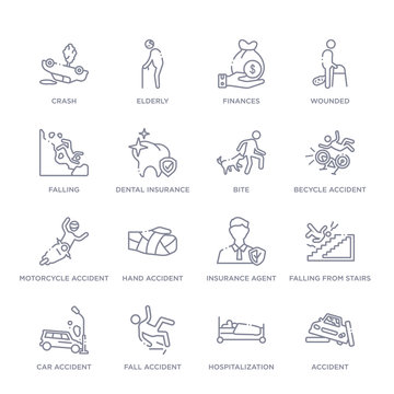 set of 16 thin linear icons such as accident, hospitalization, fall accident, car accident, falling from stairs, insurance agent, hand accident from insurance collection on white background, outline