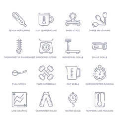set of 16 thin linear icons such as temperature measure, water scale, carpenter ruler, line graphic, chronometer running, cup scale, two dumbbells from measurement collection on white background,