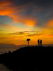 beautiful sunset  moment at a beach