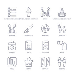 set of 16 thin linear icons such as debate, leaflet, voting, poll, vote, checking, oath from political collection on white background, outline sign icons or symbols