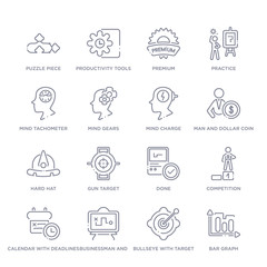 set of 16 thin linear icons such as bar graph, bullseye with target, businessman and tactics, calendar with deadlines, competition, done, gun target from productivity collection on white background,