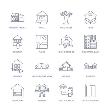 set of 16 thin linear icons such as office building, certification, tenant, bedroom, bridges, facade, house front view from real estate collection on white background, outline sign icons or symbols