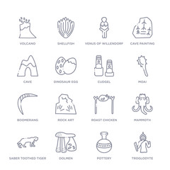 set of 16 thin linear icons such as troglodyte, pottery, dolmen, saber toothed tiger, mammoth, roast chicken, rock art from stone age collection on white background, outline sign icons or symbols