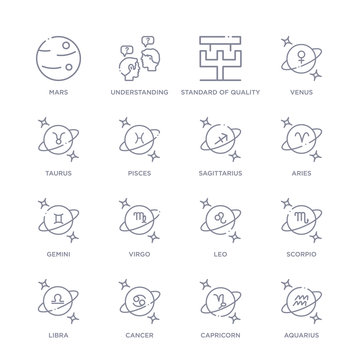 set of 16 thin linear icons such as aquarius, capricorn, cancer, libra, scorpio, leo, virgo from zodiac collection on white background, outline sign icons or symbols
