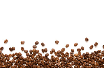 Photo sur Toile Café en grains Roasted Coffee Beans background texture isolated on white background with copy space for text - Image