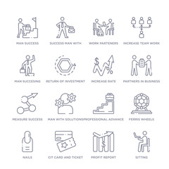 set of 16 thin linear icons such as sitting, profit report, cit card and ticket, nails, ferris wheels, professional advance, man with solutions from business collection on white background, outline