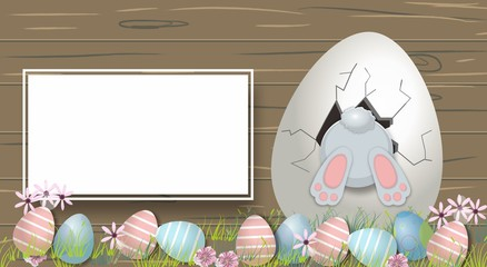 Happy Easter Cute bunny and eggs Cartoon