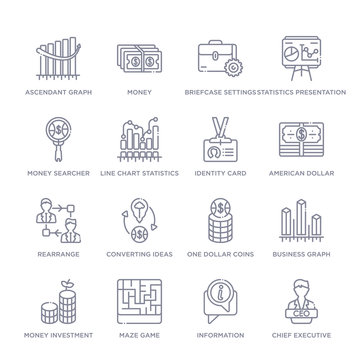 set of 16 thin linear icons such as chief executive officer, information, maze game, money investment, business graph, one dollar coins, converting ideas in money from business collection on white