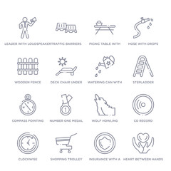 set of 16 thin linear icons such as heart between hands, insurance with a button, shopping trolley, clockwise, cd record, wolf howling, number one medal from general collection on white background,