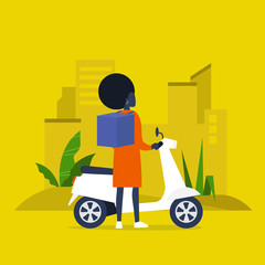 Food delivery service. Young black female courier with a large backpack riding a motor bike. Flat editable vector illustration, clip art